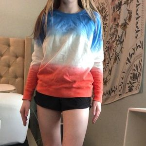 Red white and blue crew neck